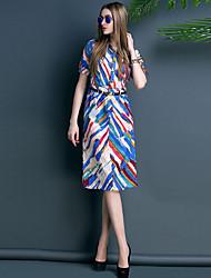 TS Vintage/Sexy/Print/Work Inelastic ½ Length Sleeve Midi Dress (Cotton Blends)