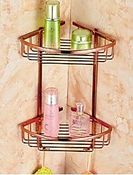 Neoclassical Rose Gold Finish Bathroom Double-deck Brass Material Triangular Storage Basket