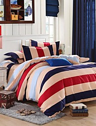 Mingjie® Life Charm Blue Yellow and Red Stripes Queen and Twin Size Sanding Bedding Sets 4pcs China Wholesale