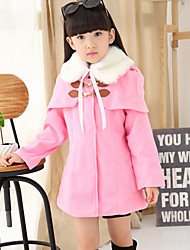 Girl's Sweet Fur Collar Tweed Cloak Coat