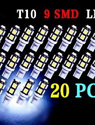20 x t10 super blanc coin 9-SMD 5050 des ampoules à LED 192 168 194 2 825 158 W5W