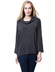Women Slouchy T-shirt High Roll Neck Side Zipper Irregular Hem Loose Tees Tops Knitted Pullover