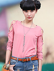 Women's Solid Pink / Black / Gray Blouse(cotton)