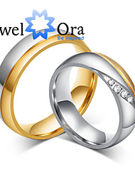 New Noble Fashion CZ Stone Titanium Steel Wedding Gold Ring Couples Ring For Women&Man