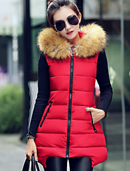 Women's Winter Popular Fur Hooded Slim Down Vest More Colors