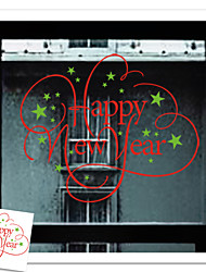 Happy New Year Merry Christmas Day Garland Gift Pattern Wall Sticker