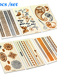 (6pcs) Gold And Silver Tattoo Fashion Temporary Tattoo Stickers Temporary Body Art Waterproof Tattoo Pattern Set
