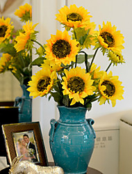 1 Ast Polyester Sonnenblumen Tisch-Blumen Künstliche Blumen 87 x 16 x 16 (34.25'' x 6.29'' x 6.29'')
