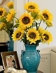 1 Rama Poliéster Girasoles Flor de Mesa Flores Artificiales 87 x 16 x 16 (34.25'' x 6.29'' x 6.29'')