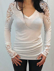 Women's  V Neck Lace Long Sleeve T-shirt
