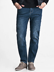 LEEPEN Men's Winter New Thick Jeans.