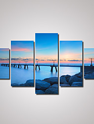 5 Panels Seascape and A Bridge Night View  Picture Print on Canvas Unframed
