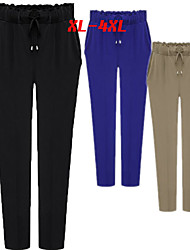 Big girl Women's Striped / Solid Color Blue / Black Pants , Sexy Mid Rise Skinny
