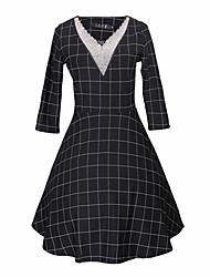 Women's Check Black Dresses , Casual V-Neck Long Sleeve