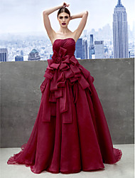 A-Line Sweetheart Chapel Train Organza Prom Formal Evening Dress with Side Draping by TS Couture®