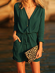 Women's Work Loose Dress,Solid V Neck Above Knee ¾ Sleeve Green Fall