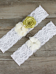 2pcs/set Gold And Milk White Satin Lace Chiffon Beading Wedding Garter