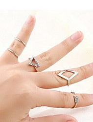 Ring Fashion Party Jewelry Brass Women Midi Rings 1set,One Size Silver