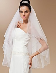 Bride Wedding Veil Two-tier Handmade Beaded Fingertip Veils Beaded Edge