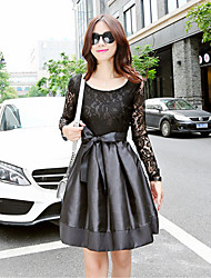 Fall 2015 Women Lace Stitching Waistband Slim Korean Long-Sleeved Dress