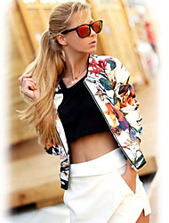 X.N.R Women's Floral White Coats & Jackets , Casual / Work Round Long Sleeve