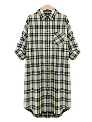 Women's Plaid Black Dress , Casual Shirt Collar Long Sleeve