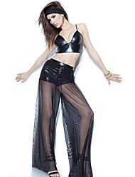 Women's Leatherette Bralette Top with Palazzo Pants