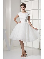 A-line Wedding Dress Knee-length Bateau Organza with Draped