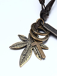 Men's Women's Couple's Pendant Necklaces Pendants Leather Copper Cross Fashion Brown Jewelry Daily Casual 1pc
