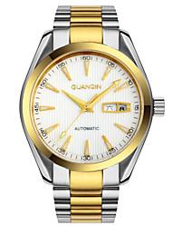 homens guanqin auto-liquidação relógio à prova d'água de 100m luminosa calendário semana relógio 40,5 milímetros de aço cristal automática