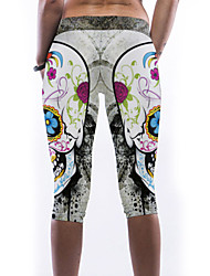 Women's Sexy Skull Digital Print Stretch Knee Length Yoga Leggings