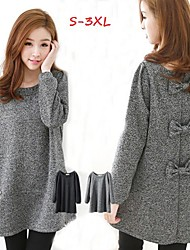 Women's Solid Color Black / Gray Plus size Dresses , Casual / Cute Round Long Sleeve