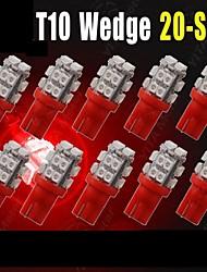 10 x T10 W5W 2825 192 194 168 501 158 20smd led rouge côté coin ampoule DC 12V