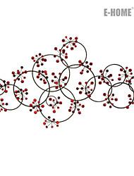 e-FOYER mur d'art de mur en métal décor, fleur rouge circulaire mur décor un pcs