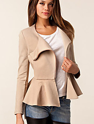 Tiffni Women's Solid Color Black / Beige Coats & Jackets , Casual Tailored Collar Long Sleeve