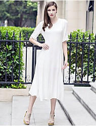 Women's Solid Color White Dresses , Casual Round ½ Length Sleeve