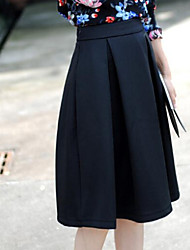 Women's Solid Blue / Black Skirts , Sexy Knee-length