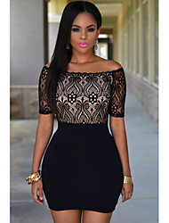Women's Lace Top Off Shoulder Mini Dress