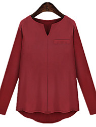 Casual Plus Sizes Women's Blended Knit Stitching Long Sleeve Blouse Shirt Tops