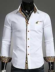 Men's Print Casual Shirt,Nylon Long Sleeve Black / White
