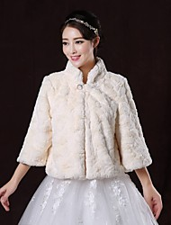 Wedding  Wraps / Fur Wraps / Fur Coats Coats/Jackets Long Sleeve Faux Fur White Wedding / Party/Evening Scoop Button Clasp