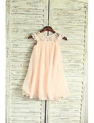 A-line Tea-length Flower Girl Dress - Chiffon / Lace Sleeveless Jewel with