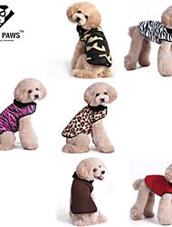 Perros / Gatos Abrigos / Camiseta Rojo / Blanco / Verde / Marrón / Rosado / Dorado Invierno Leopardo / camuflajeLeopardo / Cebra /