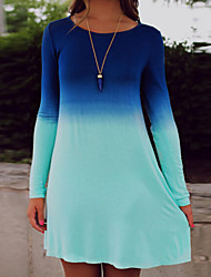 Dominic Women's Color Block Blue Dresses , Casual / Work Round Long Sleeve