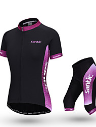 SANTIC Bike/Cycling Jersey + Pants/Jersey+Tights / Clothing Sets/Suits Women's Short Sleeve Breathable Polyester Patchwork Dark PurpleS /