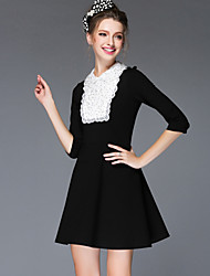 Women's Autumn Winter Fashion Vintage Bead Pearl Patchwork Embroidery Lace Long Sleeve Elegant Dress