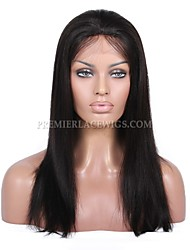 10A Premierwigs 8''-28'' Yaki Straight Brazilian Virgin Full Lace Human Hair Wigs Natural Color Soft Lace Front Wigs