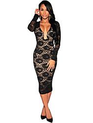 Women Bodycon Dress Floral Lace Plunge Neck Long Sleeve Party Evening Midi Pencil Dress