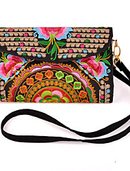 Women's Chinese Style Embroidery with Flower Removable Sling Bag