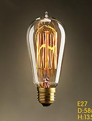 E27 60W ST58 Straight Wire Tip Edison Tungsten Decorative Art Bar